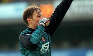 Mark Bosnich gives his infamous Nazi salute to the Tottenham Hotspur fans