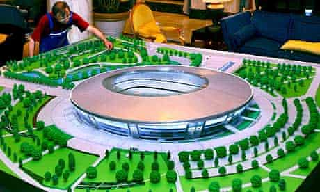 A model of the new stadium in Donetsk