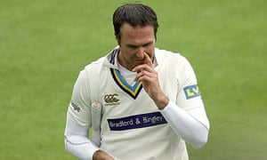 Michael Vaughan was caught at point on 16 at Edgbaston