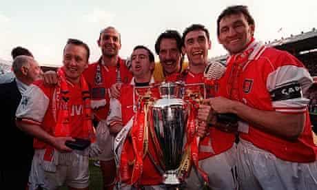 Arsenal's Lee Dixon, Steve Bould, Nigel Winterburn, David Seaman, Martin Keown and Tony Adams