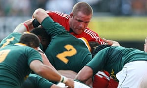 Phil Vickery in the Lions scrum against South Africa