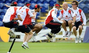 England players take part in a skipping session