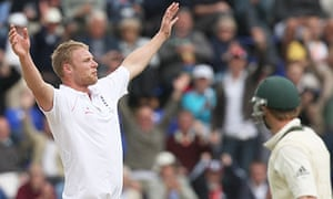 Andrew Flintoff celebrates after taking the wicket of Australia's Phillip Hughes