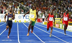 Usain Bolt wins the 100m final at the World Championships in a time of 9.58 seconds