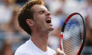 Andy Murray celebrates beating Juan Martin del Potro