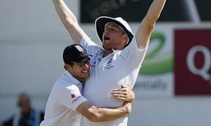 Andrew Flintoff celebrates after running out Ricky Ponting during the fifth Ashes Test at the Oval