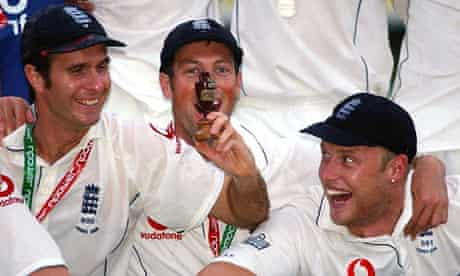 Michael Vaughan celebrates winning the 2005 Ashes