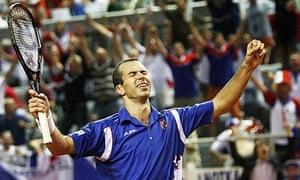 Radek Stepanek celebrates beating Ivo Karlovic in a record-breaking Davis Cup tie