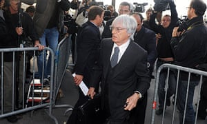 Bernie Ecclestone, F1's commercial rights-holder, arrives in Paris for the WMSC hearing