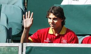 Rafael Nadal waves during Spain's Davis Cup semi-final with Israel