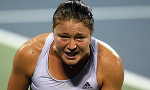Dinara Safina looks on in anguish during her defeat to Petra Kvitova at the US Open