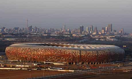 World Cup 2010 Construction work continues at Soccer City, also known as the FNB Stadium=