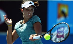 Laura Robson plays a forehand during her win over Yulia Putintseva at the Australian Open
