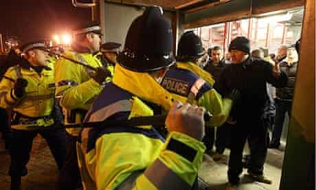 Police at the Manchester derby