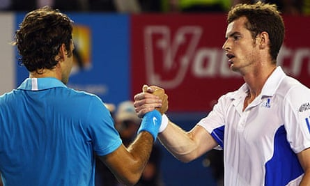 Andy Murray congratulates Roger Federer