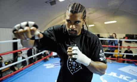 David Haye in training for his heavyweight world title fight with Audley Harrison on November 13.