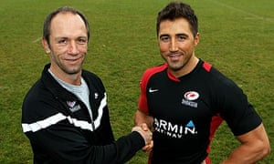 6a49975a166 Gavin Henson. Brendan Venter, the Saracens director of rugby shakes hands  with the Wales back ...
