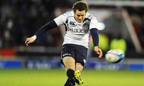 Scotland's Ruaridh Jackson kicks the winning penalty to beat Samoa 21-19