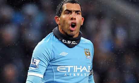 The Manchester City striker Carlos Tevez