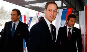 Prince William and David Beckham arrive for the final presentations