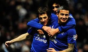 Everton celebrate Leighton Baines' goal against Everton