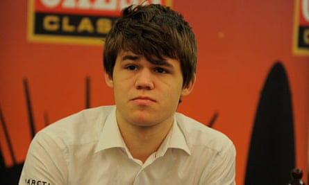 Chess Player Magnus Carlsen at a press conference for the London Chess Classic