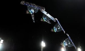 This multiple exposure shows Shaun White of USA during a warm-up at Cypress Mountain