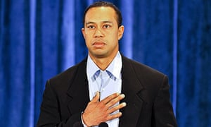 Tiger Woods pauses while delivering a statement to friends and family in Florida
