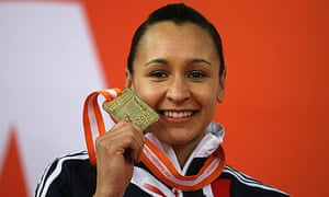 Jessica Ennis with her gold medal at the world indoor championships