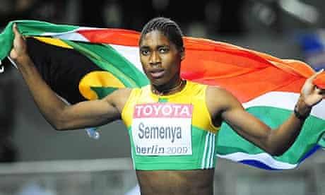 South Africa's Caster Semenya celebrates