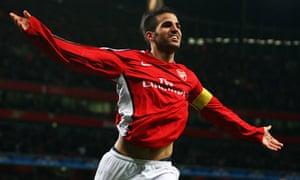 Fabregas celebrates after scoring against AZ Alkmaar