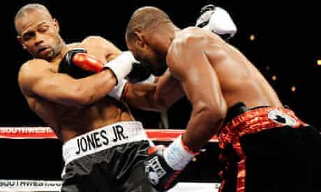 Bernard Hopkins lands a punch on Roy Jones Jr