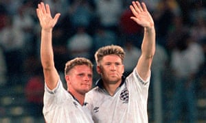 Paul Gascoigne, left, and Chris Waddle, England footballers