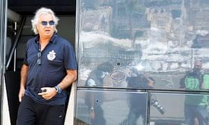 Flavio Briatore leaves a motorhome in Monaco after meeting Bernie Ecclestone
