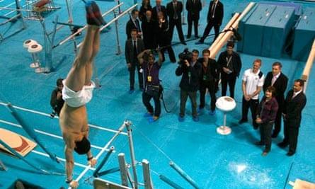 Gordon Brown at gymnastic display