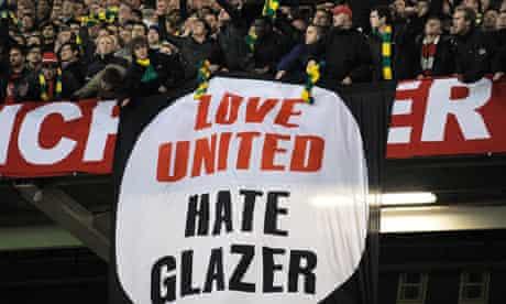 Anti-Glazer banner at Old Trafford