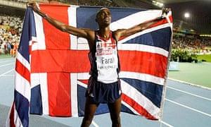 Mo Farah celebrates winning the 5,000m at the European Championships in Barcelona