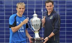 Everton captain Phil Neville and Everton Chile captain Gustavon Tulo Dalsasso