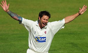 Peter Trego celebrates after taking the wicket of Durham batsman Ian Blackwell