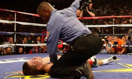 Ricky Hatton lies motionless after being knocked out by Manny Pacquiao in Las Vegas in 2009.