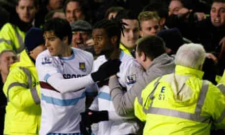 Frederic Piquionne after scoring for West Ham v Everton