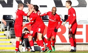 Leyton Orient players after Jimmy Smith put his team 1-0 ahead in their FA Cup tie at Swansea City