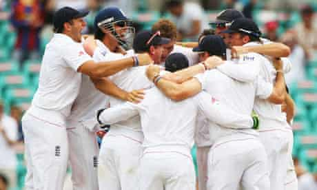 England celebrate the final wicket