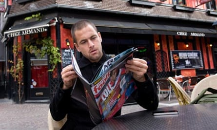 Joe Cole outside a cafe in Lille