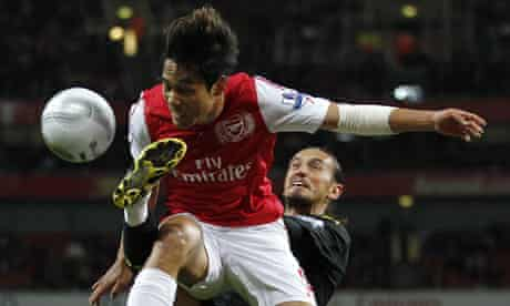Arsenal's Park Chu-Young is caught by Tuncay