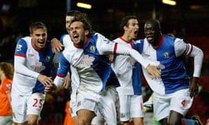 Gaël Givet celebrates scoring Blackburn's winner