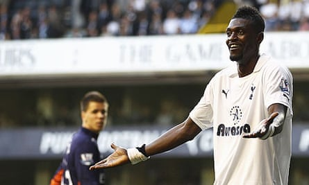 Emmanuel Adebayor was subject to tasteless chanting from Arsenal fans