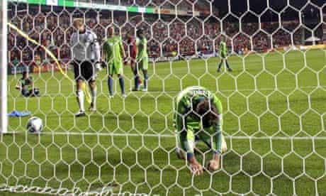 Seattle Sounders goalkeeper Kasey Keller after Real Salt Lake score