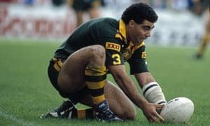 Mal Meninga in action during the Kangaroos Tour of Great Britain in 1990