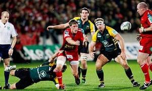 Scarlets' Rhys Priestland passes the ball